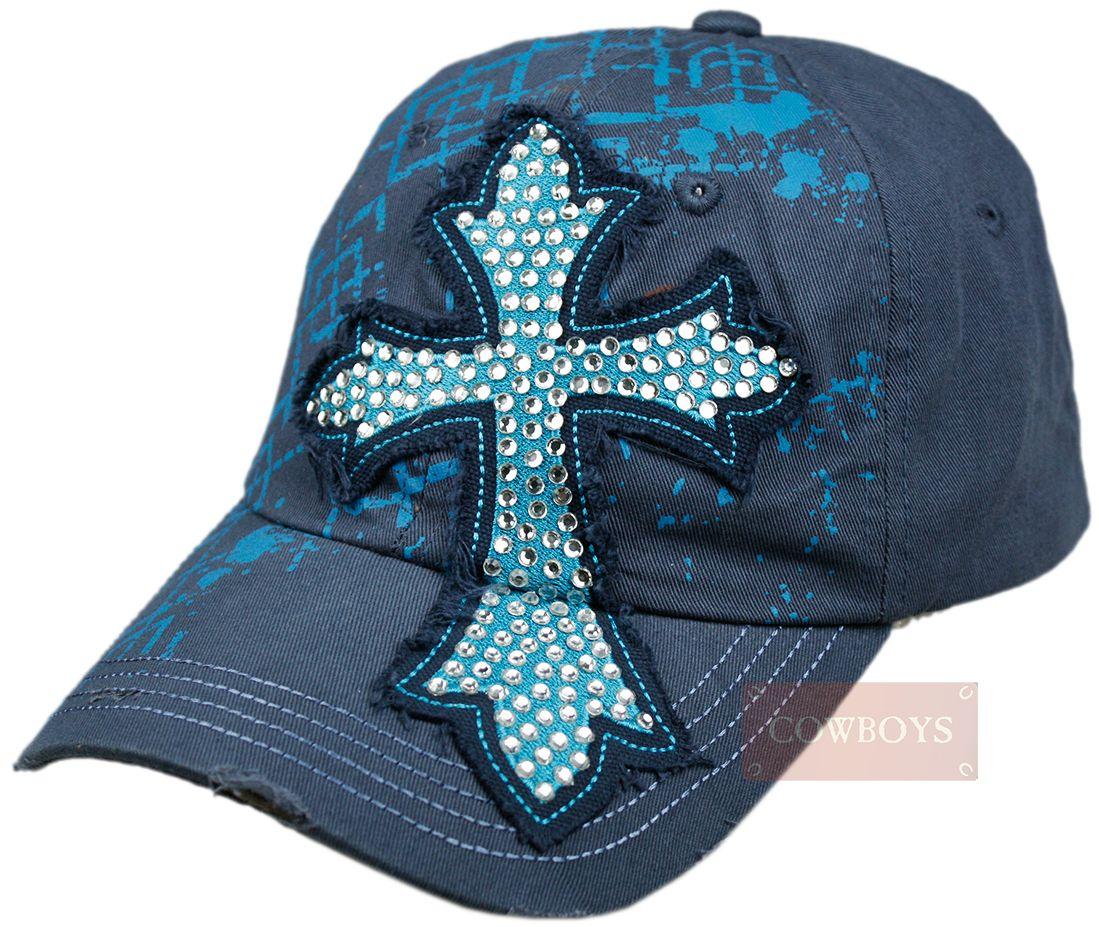 8455e2a1e3cc3 Boné Azul com Cruz Bordada em Strass Boné feminino na cor azul ...