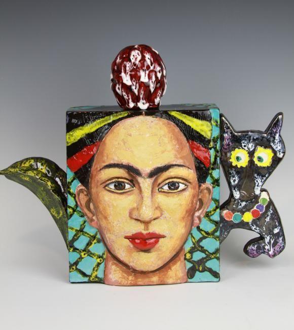 Noi Volkov teapot with image of artist Frida Kahlo