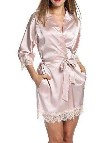809f1a3067 Hotouch Women s Bathrobes Short Kimono Robe Bridesmaids Satin Sleepwear  Silky Lace Trim Lingerie with Oblique V-Neck