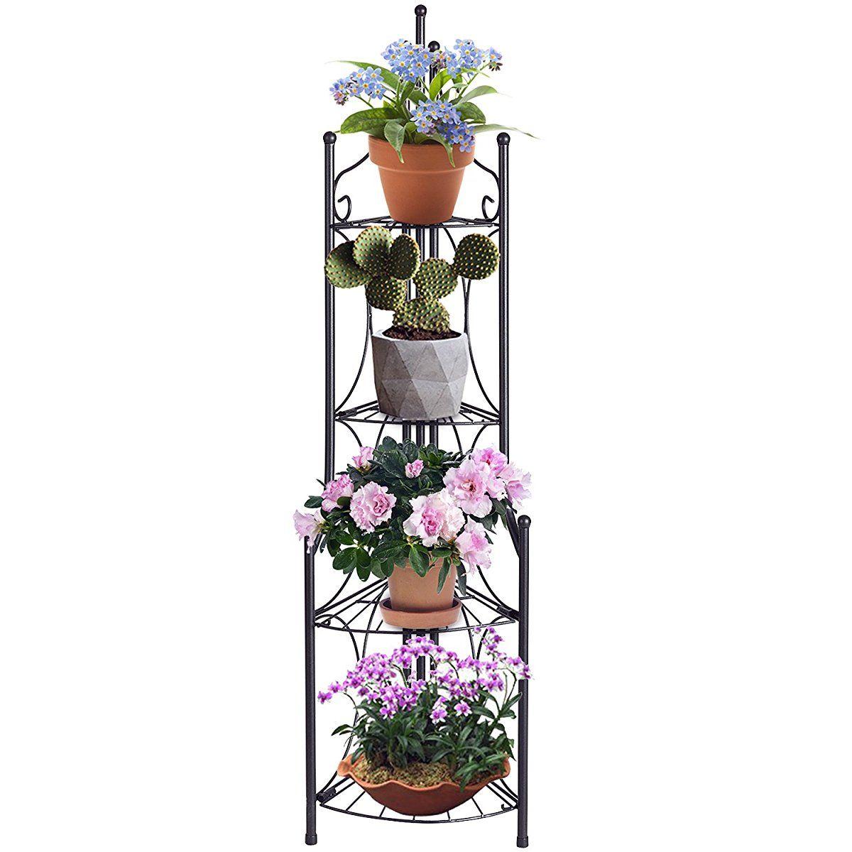 4 Tier Folding Plant Stand Plant Stand Plant Shelves Outdoor Corner Shelves