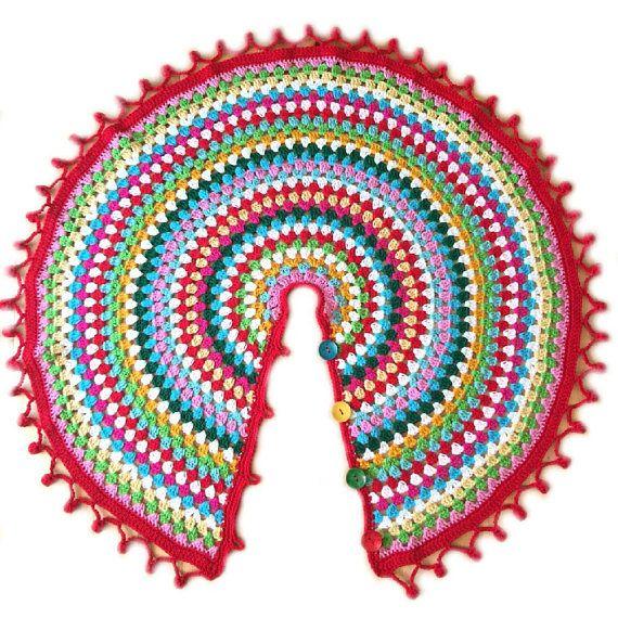 Crochet Christmas tree skirt, granny square mandala, Christmas tree ...