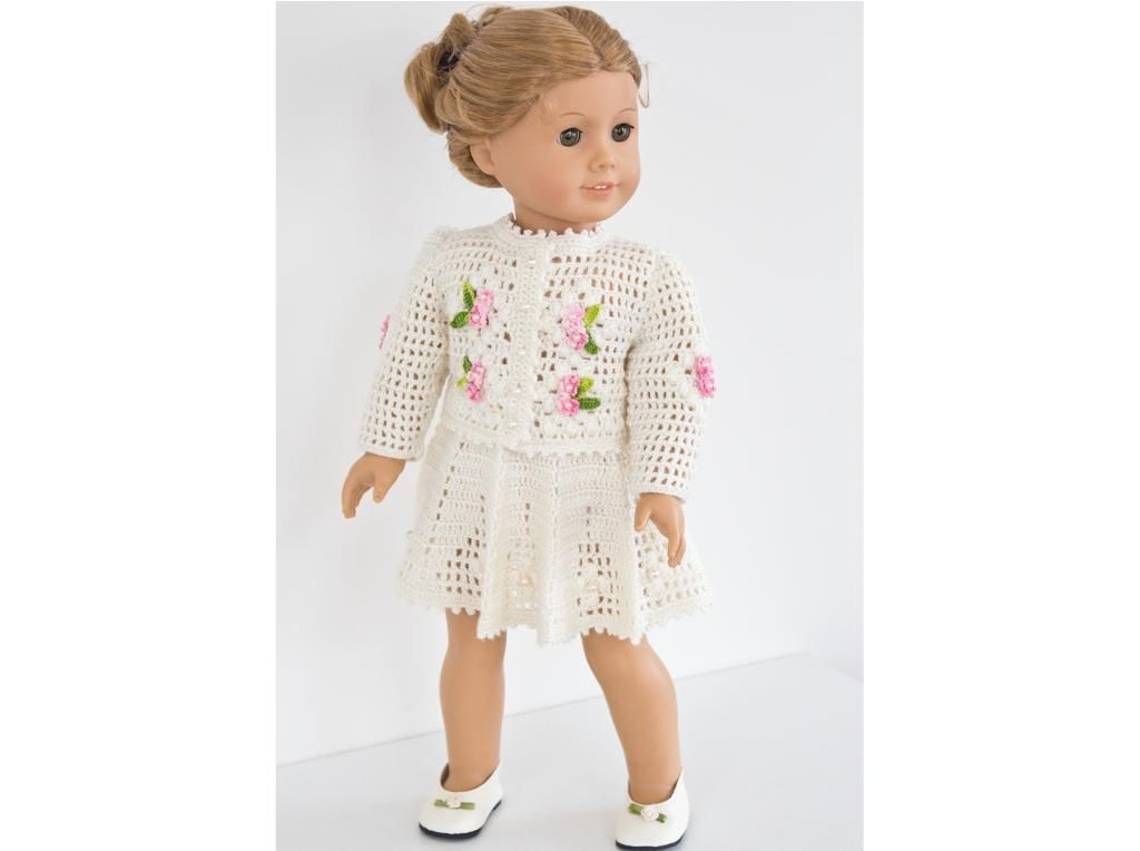 American Girl Doll Crochet pattern for a summer cardigan and skirt ...