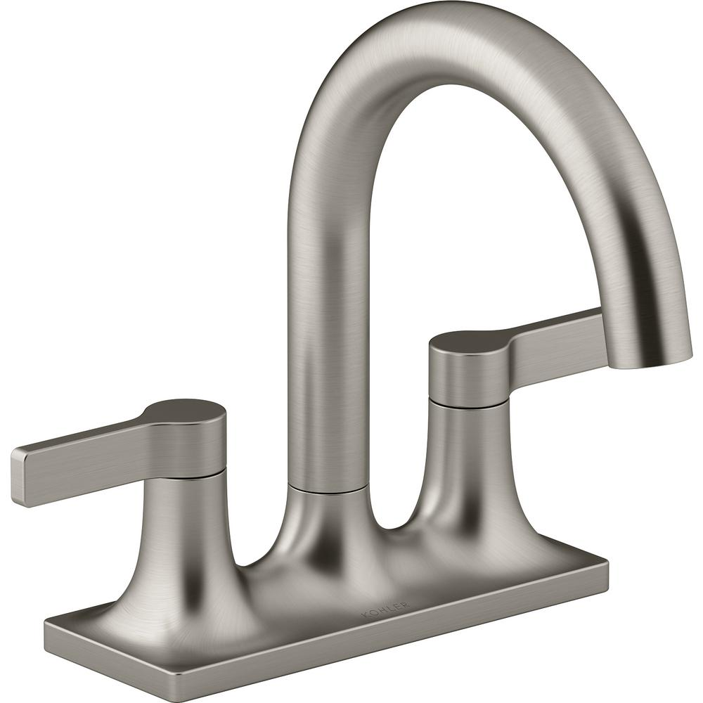 Kohler Venza 4 In Centerset 2 Handle Bathroom Faucet In Vibrant Brushed Nickel K R22797 4d Bn Bathroom Faucets Faucet Kohler