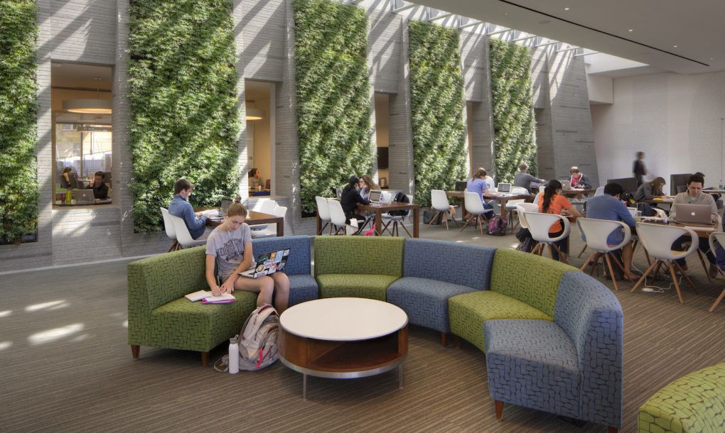 Georgetown university s leed gold living room will make you wish you were a student everything for Suffolk university interior design