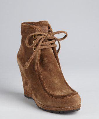 5ab9b76f491 style #324681501 Prada Sport whiskey brown suede wedge ankle boots ...