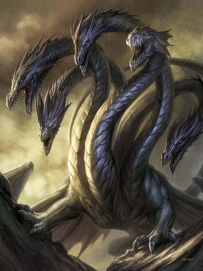 Hydra: large sea serpent/dragon with more than one head ...