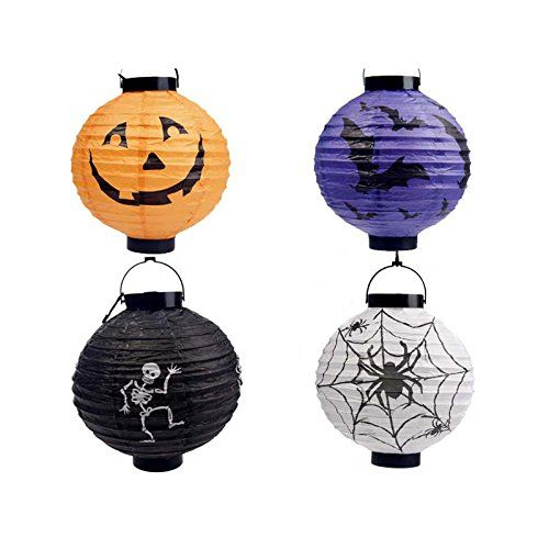 Greatop 4pcs Halloween LED Pumpkins Lantern Skeletons Spiders Bats Hanging Light *** Click image to review more details.