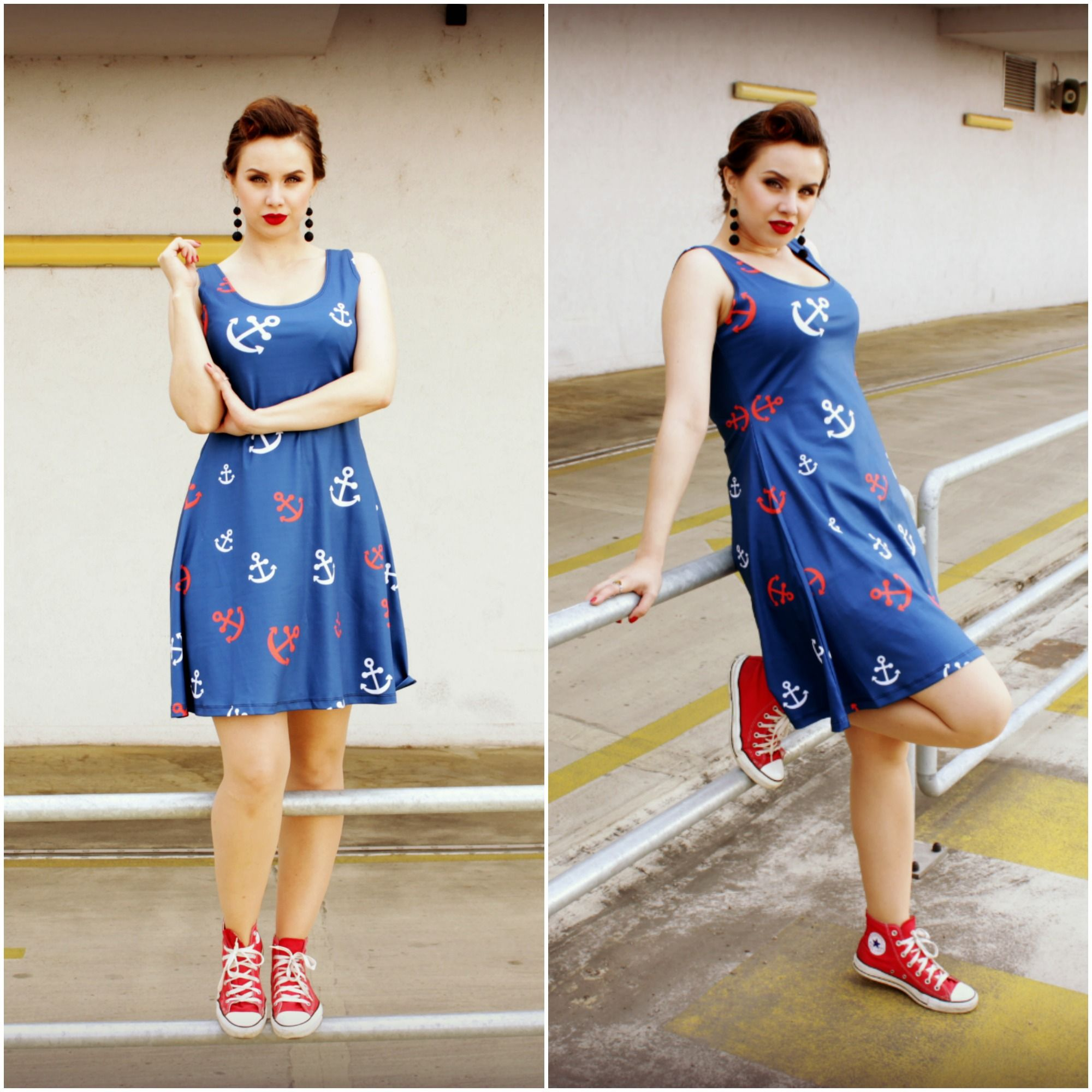 summer curvy rockabilly navy blue skater dress