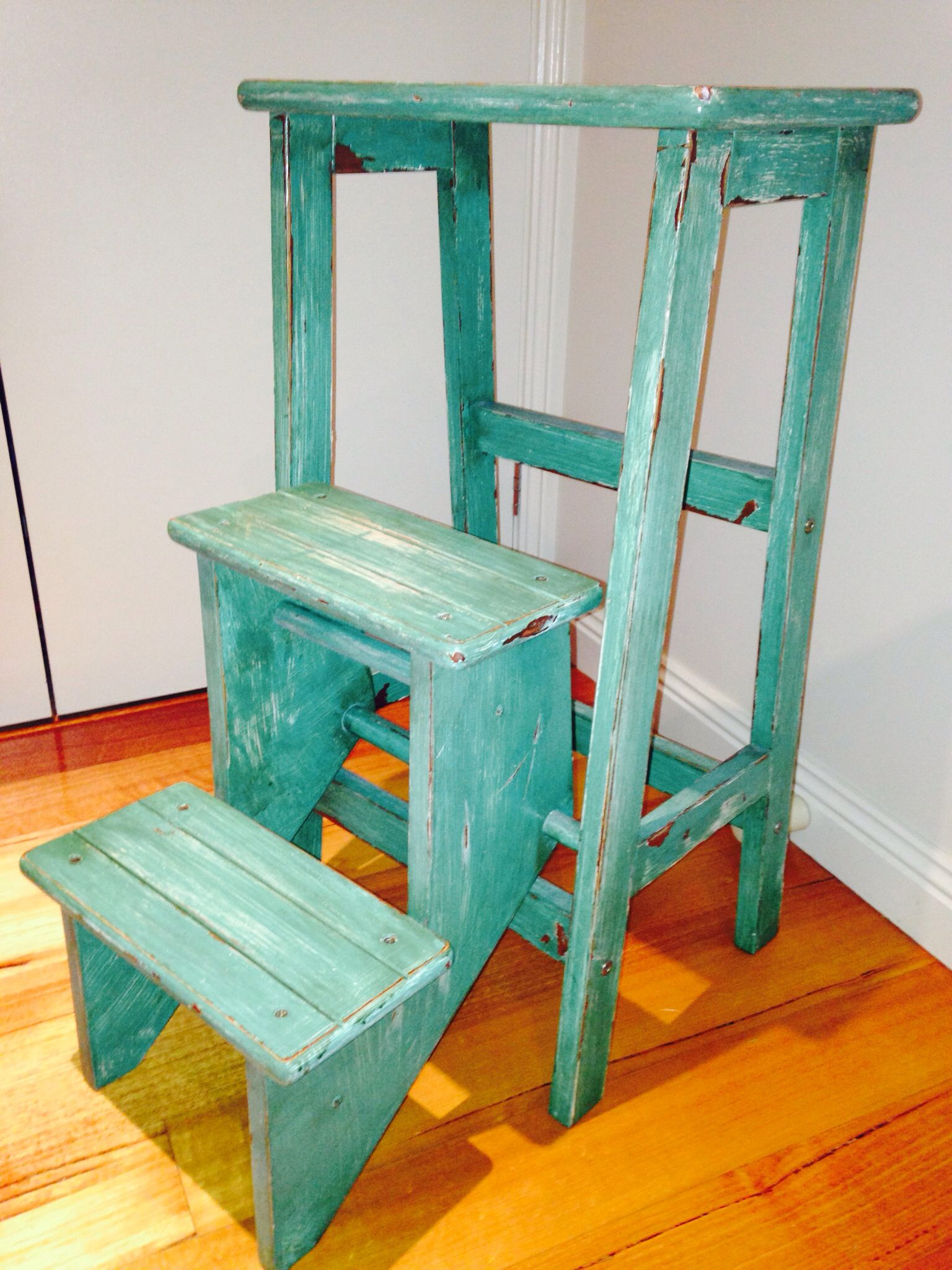 Refurbished shabby chic/French country step stool | Kitchen crafts ...
