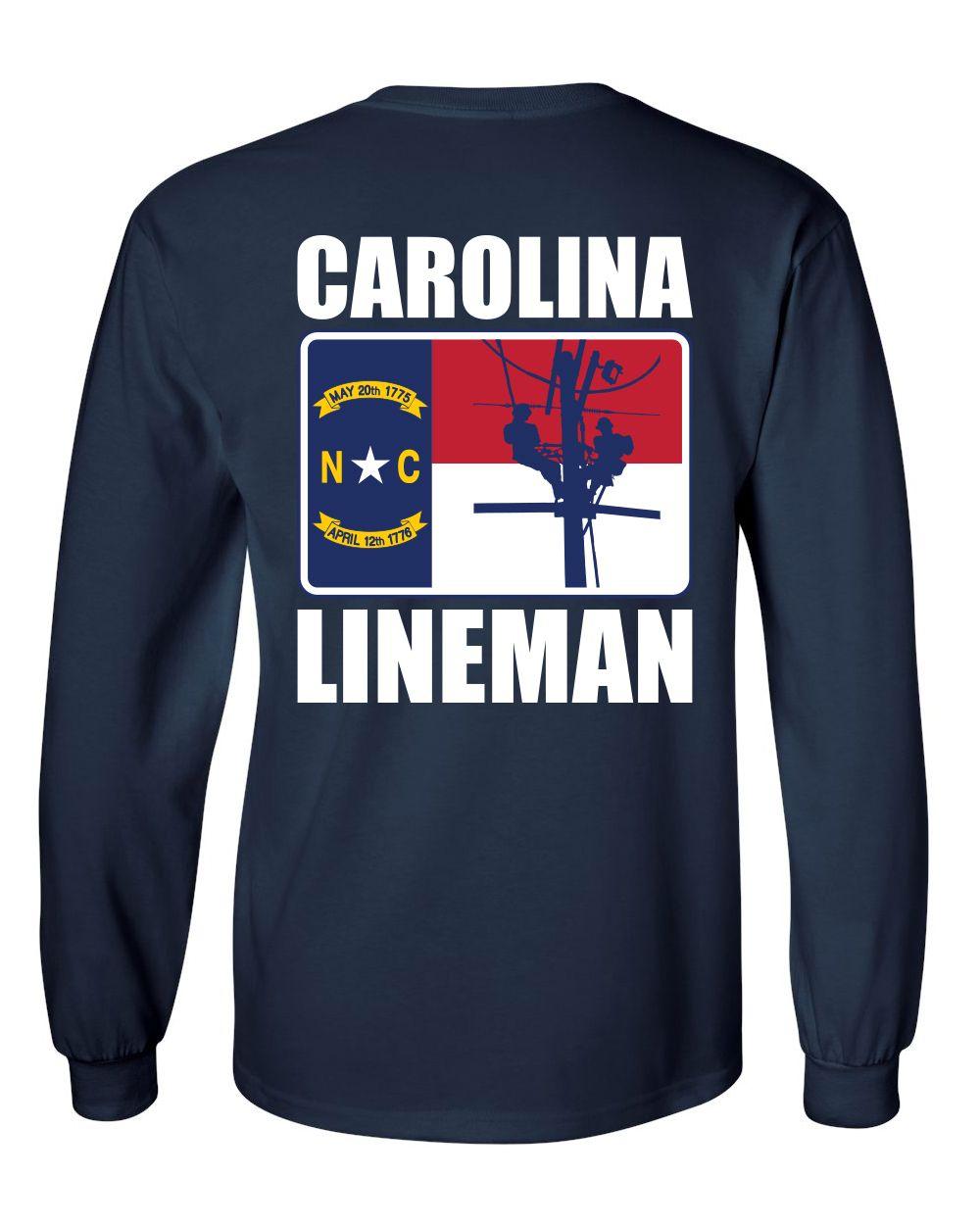 Carolina Lineman Shirt State Of North Carolina Flag With Power