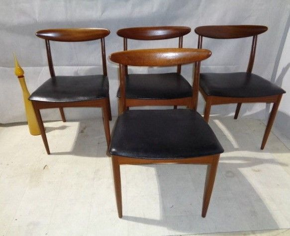 retro set of greaves thomas teak dining chairs mid century modern