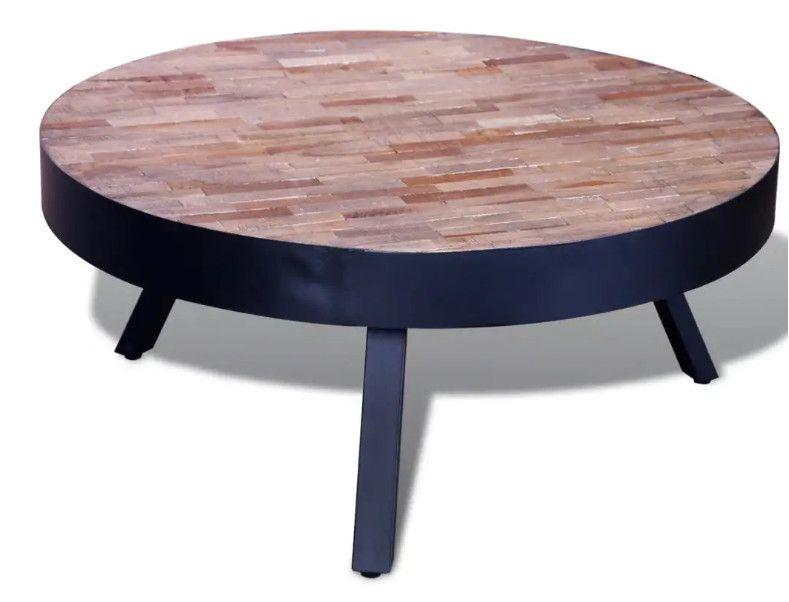 Table Basse Ronde Teck Recycle Clair Et Pieds Metal Noir Voust Lestendances Fr En 2020 Table Basse Ronde Table Basse Table Basse Industrielle