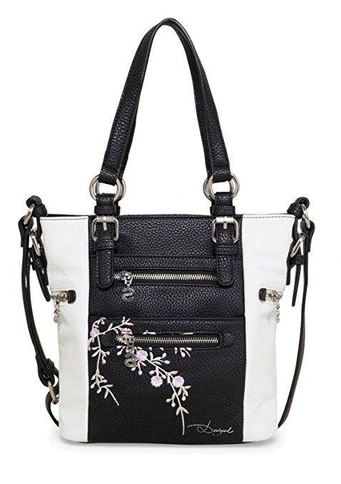 Desigual Bols Mini Argentina Blossom Schwarz Weiß Damen