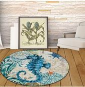 Coral Velvet Computer Chair Floor Mat Sea Turtle Octopus Printed Round Carpet for Children Be Coral Velvet Computer Chair Floor Mat Sea Turtle Octopus Printed Round Carpe...