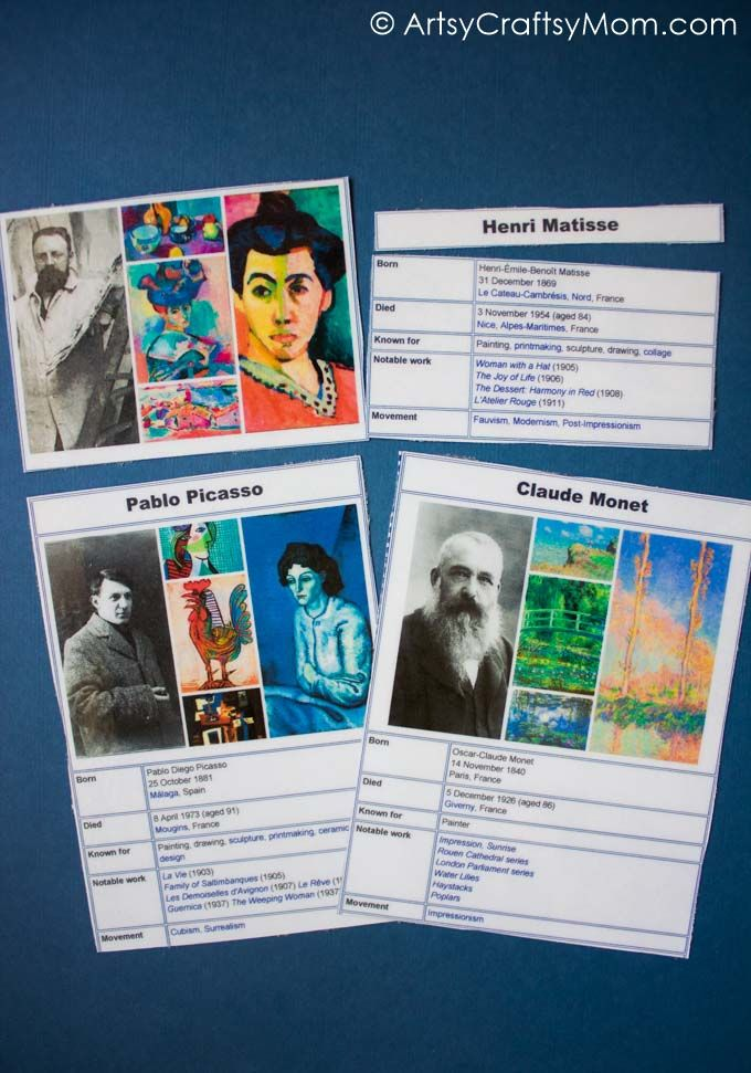 Photo of Famous Artists Free Printable Puzzle and Worksheet