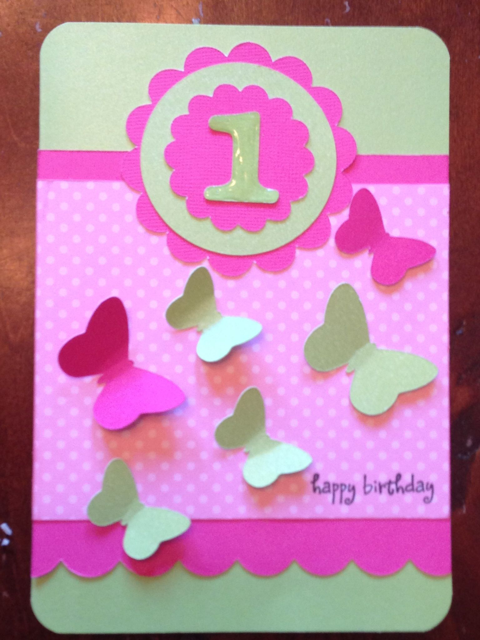 Baby girls 1st birthday card I made