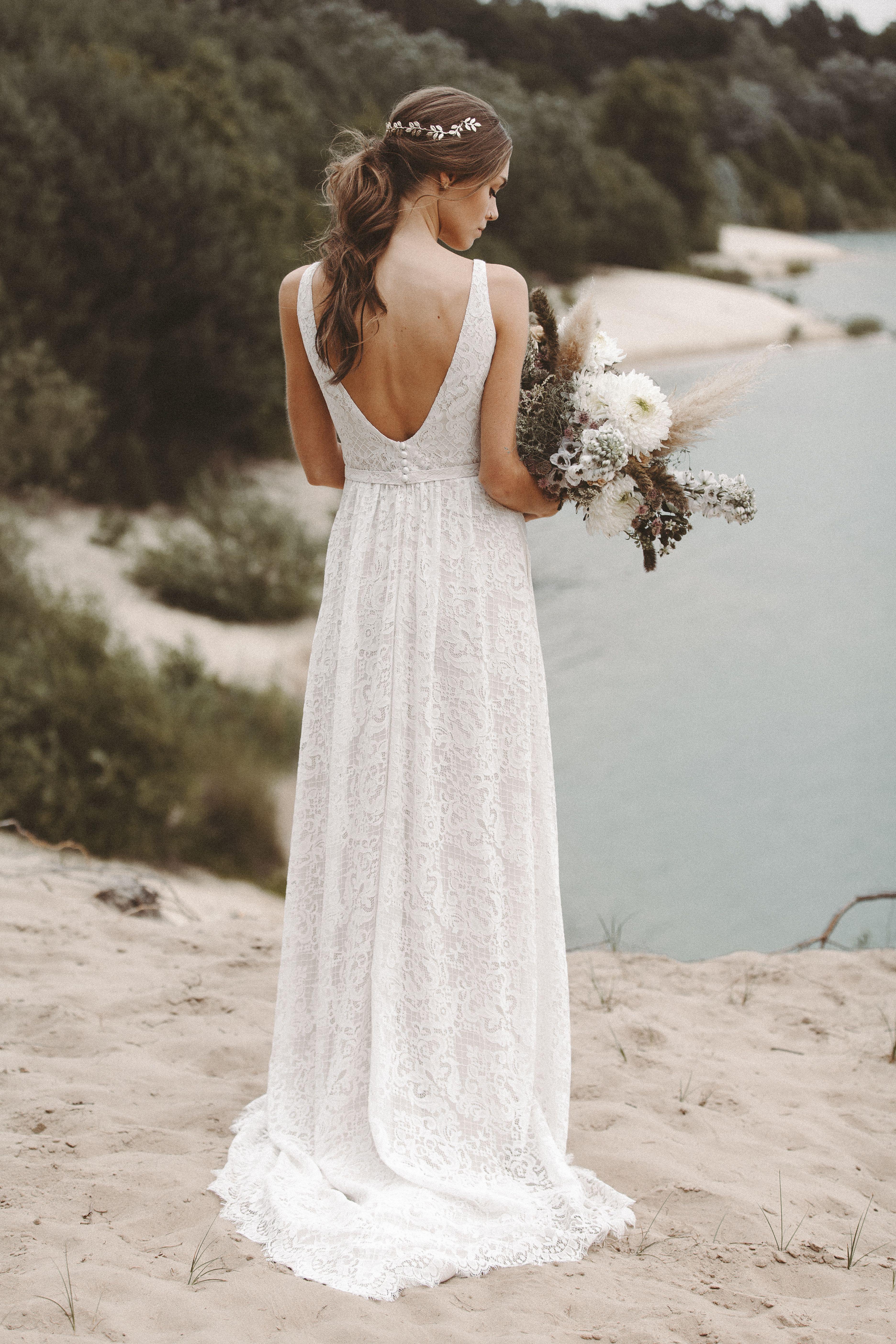 Brautkleid spitze rückenausschnitt hochzeitskleid boho bohemian