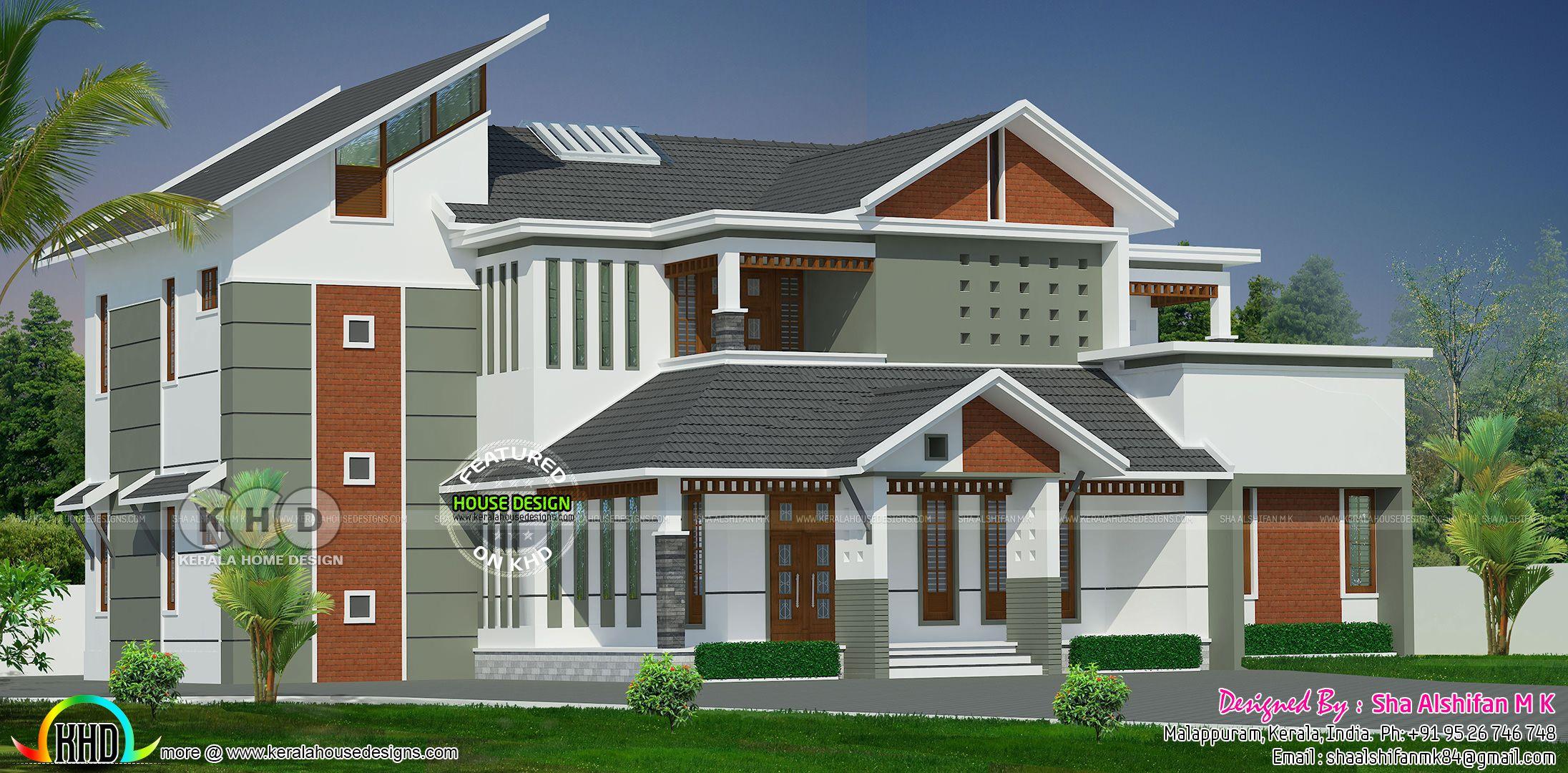 3546 Square Feet 5 Bedroom Modern Home Plan Modern House Plans Kerala House Design Contemporary House Plans