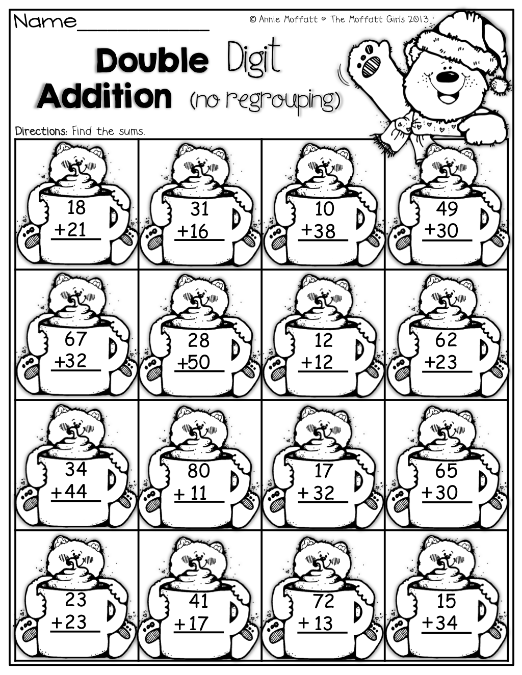 Coloring pages for double digit subtraction - 2 Double Digit Addition With No Regrouping Can Print Sheet In Picture As A Picture