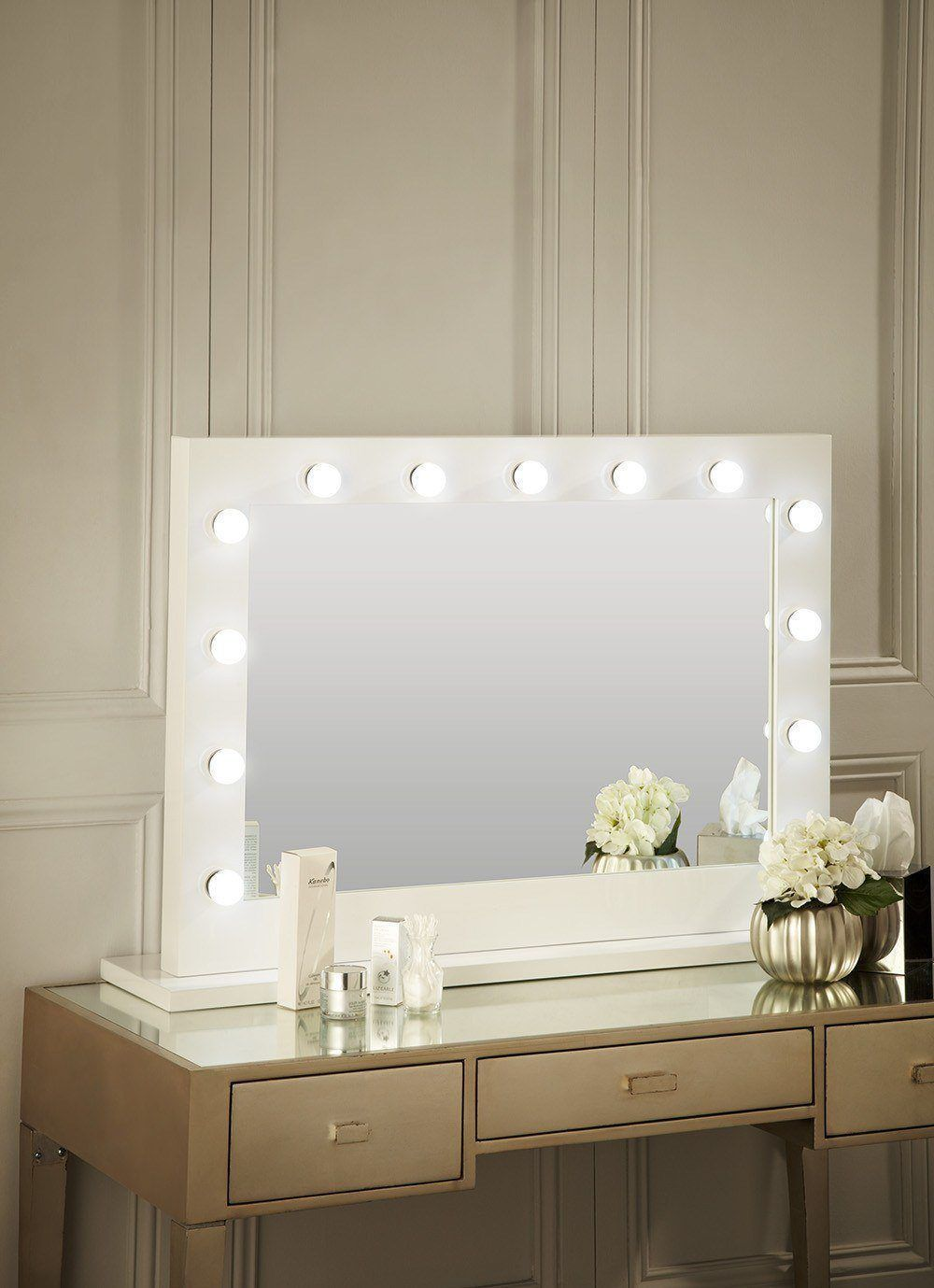 Audrey Hollywood Mirror in White Gloss 100 x 80cm