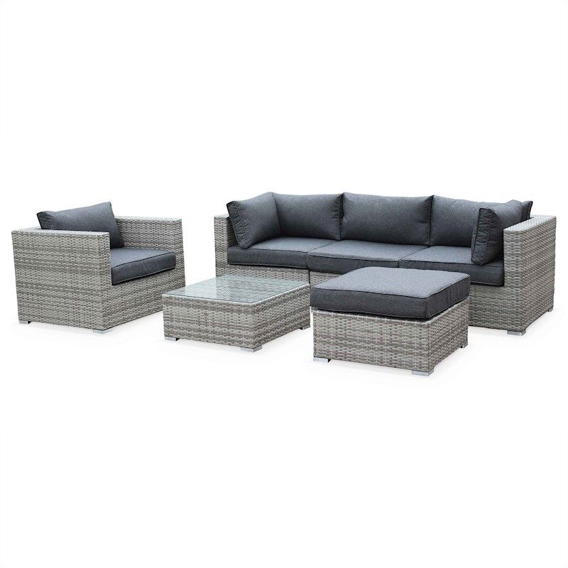Caligari 5 Seater Outdoor Lounge Set Grey in 2019 | Rattan ...