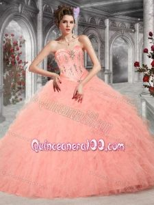 2014 Pretty Sweetheart Peach Quinceanera Dresses with Beading and ...