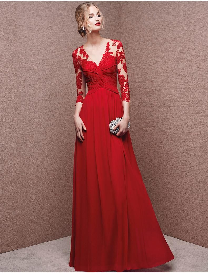 Long sleeve lace red dresses \u2013 Dress and bottoms | Long ...