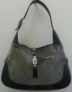 ab5d116837d1 Gucci  Jackie O  black leather   grey velvet hobo.  259.50 ...