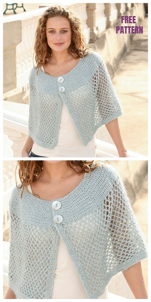 Milano Shoulder Wrap Lace Poncho Free Crochet Pattern