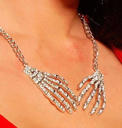 Diamonte Skeleton Hand Necklace with Clear Crystals