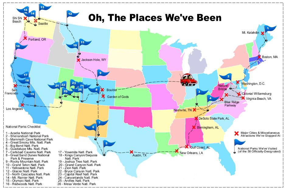 Road Trip Map Of Us National Parks BUCKET LIST Visit All The - Map of us national park historical sites