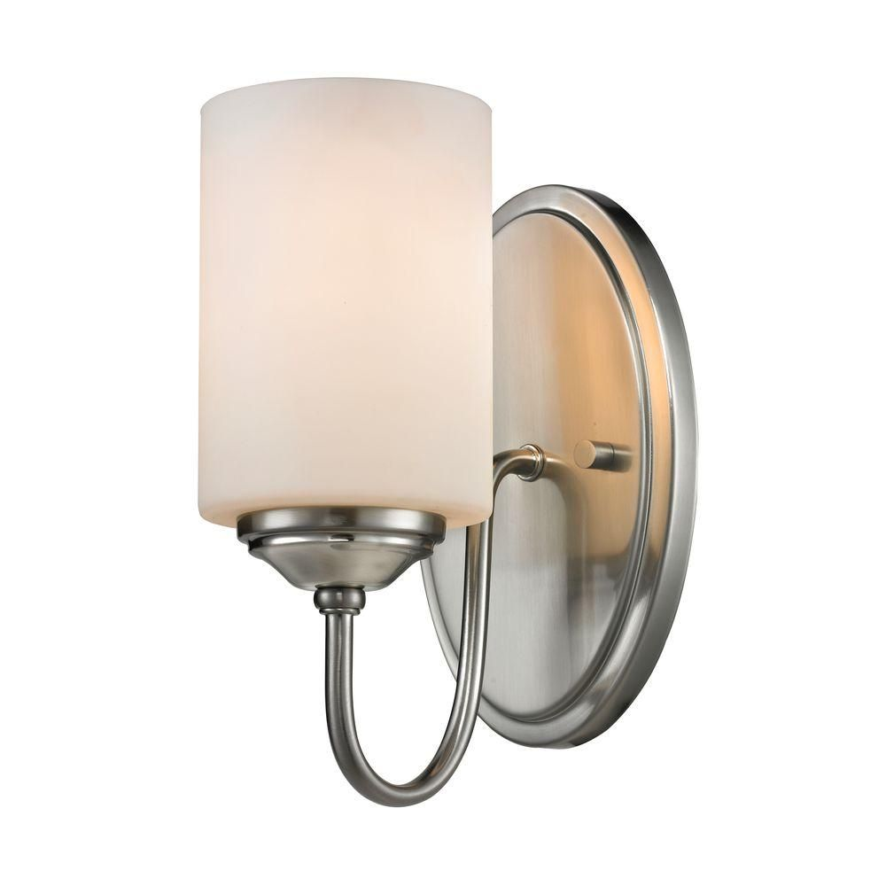 Photo of Filament Design Robyn 1-light brushed nickel Modern curved wall lamp with matt opal glass shades CLI-JB037876 – The Home Depot