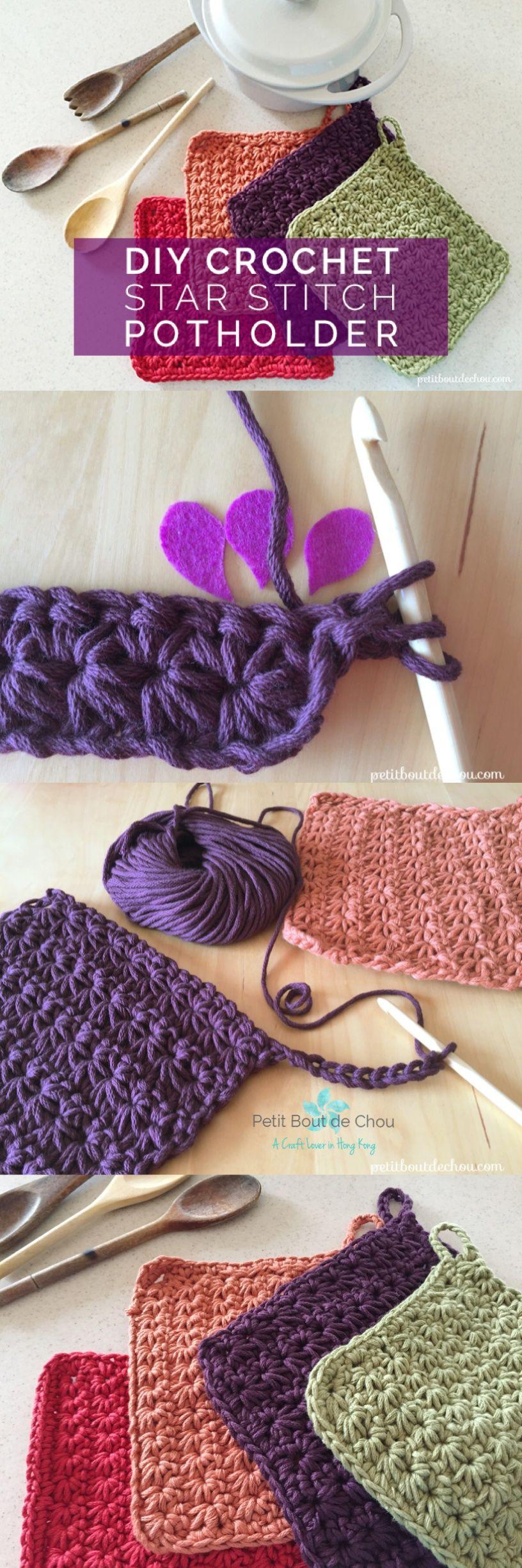 DIY Crochet Star Stitch Potholder | Crochet star stitch, Crochet ...