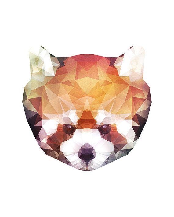 Geometric red panda lesser panda watercolor painting 8x10 and 11x14 instant download - Dessin panda roux ...