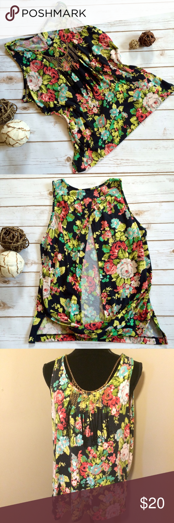 Long floral open back tank with necklace Super cute open back tank! The necklace is attached, but can come off if you would like. Tops Tank Tops