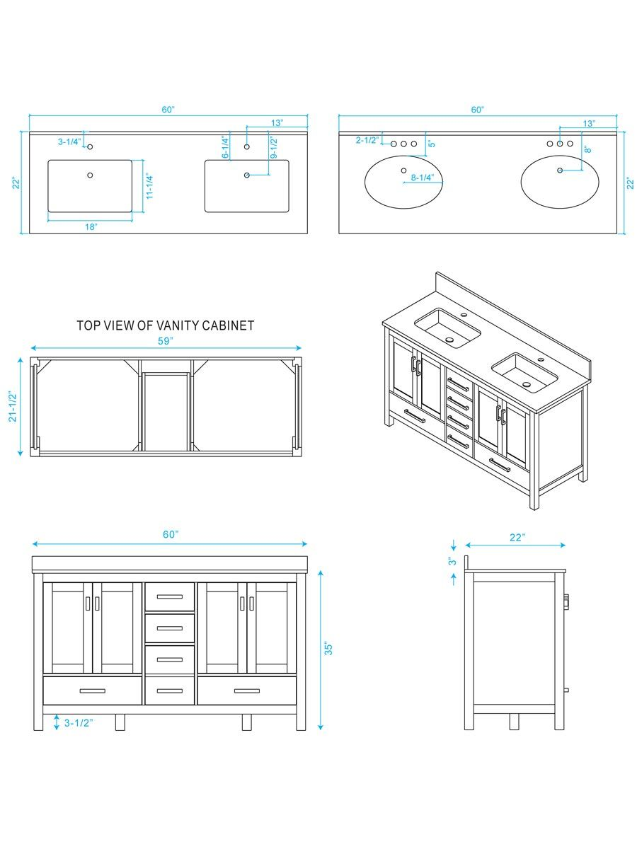 60 Sheffield Double Sink Vanity Dimensions With Images