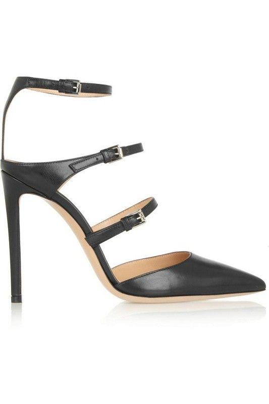 Posh Girl Black Stroppy Ankle Wrap Stiletto Pumps