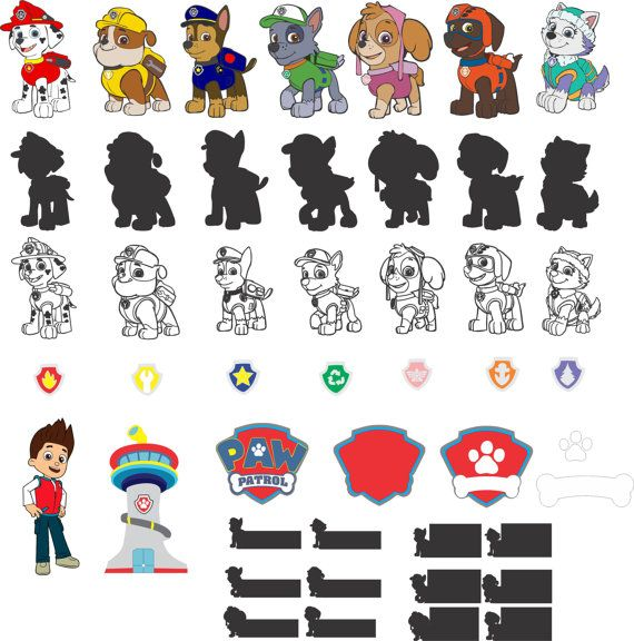 paw patrol for silhouette studio silhouette cameo paw. Black Bedroom Furniture Sets. Home Design Ideas
