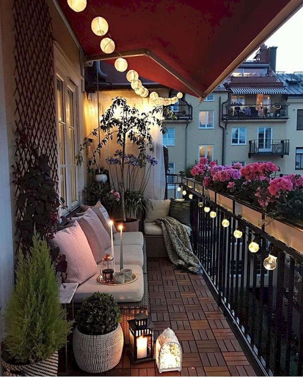 Lights on the patio apartment design in balcony decorating also rh pinterest