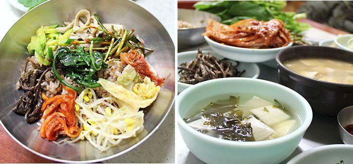 Tour de comida coreana por Gwangju. Boribap (arroz con cebada) y vegetales.