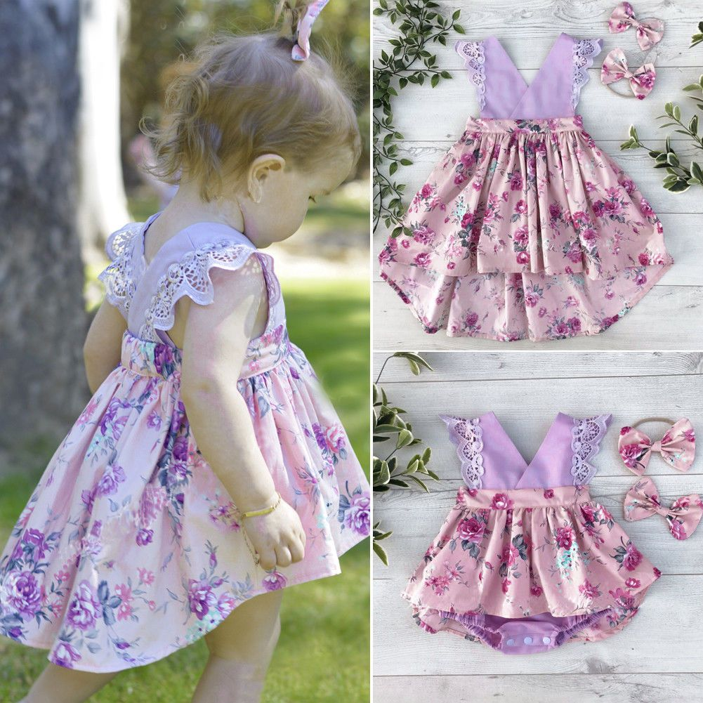 8410a0f3e569  6.55 - Toddelr Kids Baby Girls Sister Matching Floral Jumpsuit Romper  Dress Outfits Set  ebay  Fashion