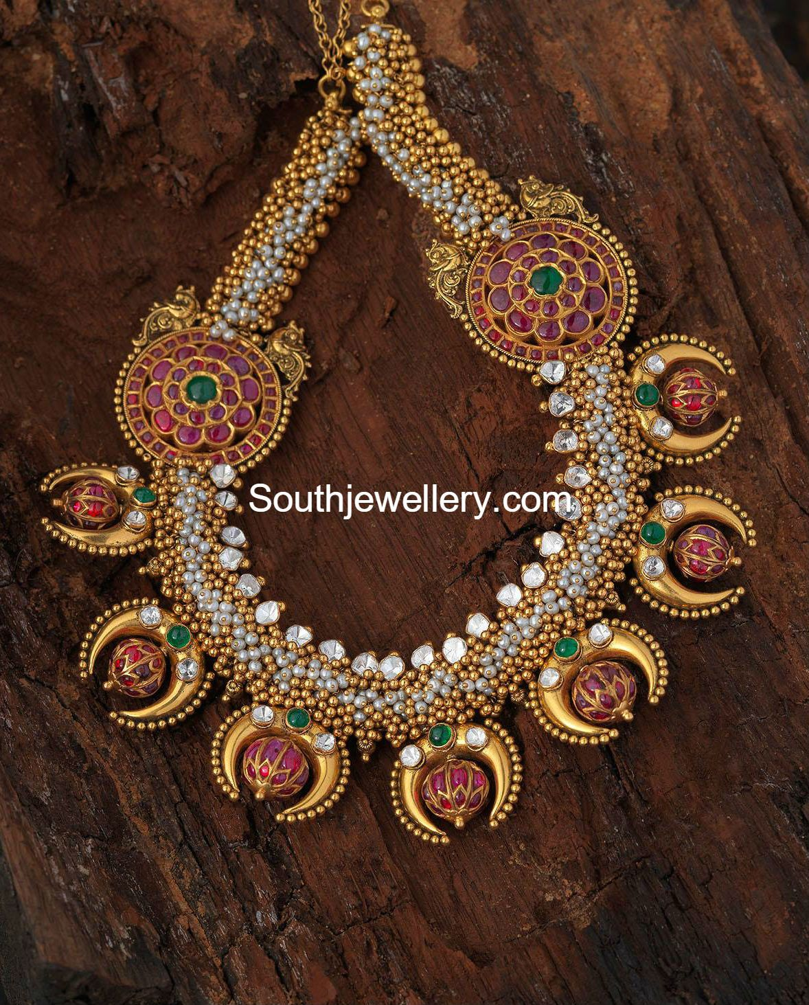 stones antique pendant cz jumki ruby with necklace chain online and pearls set kundan