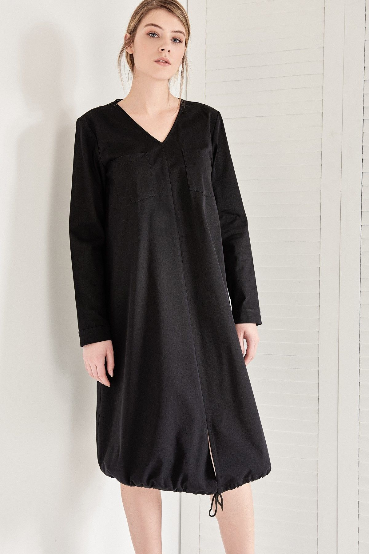 Modelleri ve elbise fiyatlar modasor com pictures to pin on pinterest - Siyah Uzun Kol Midi Elbise Vavist By Trendyol Trendyol