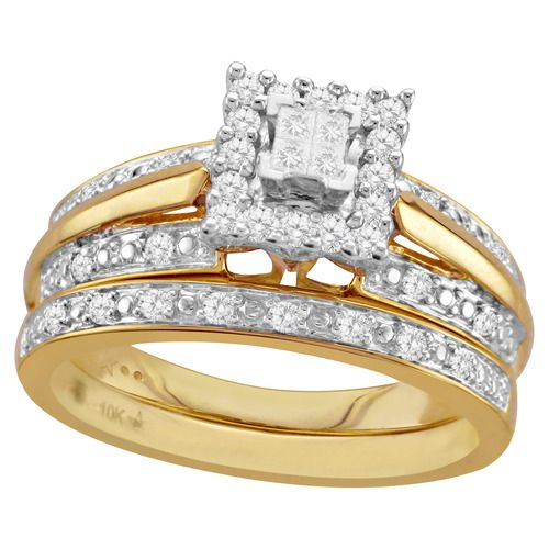 forever bride 13 cttw diamond and 10k yellow gold bridal set 298 available - Walmart Wedding Rings Sets
