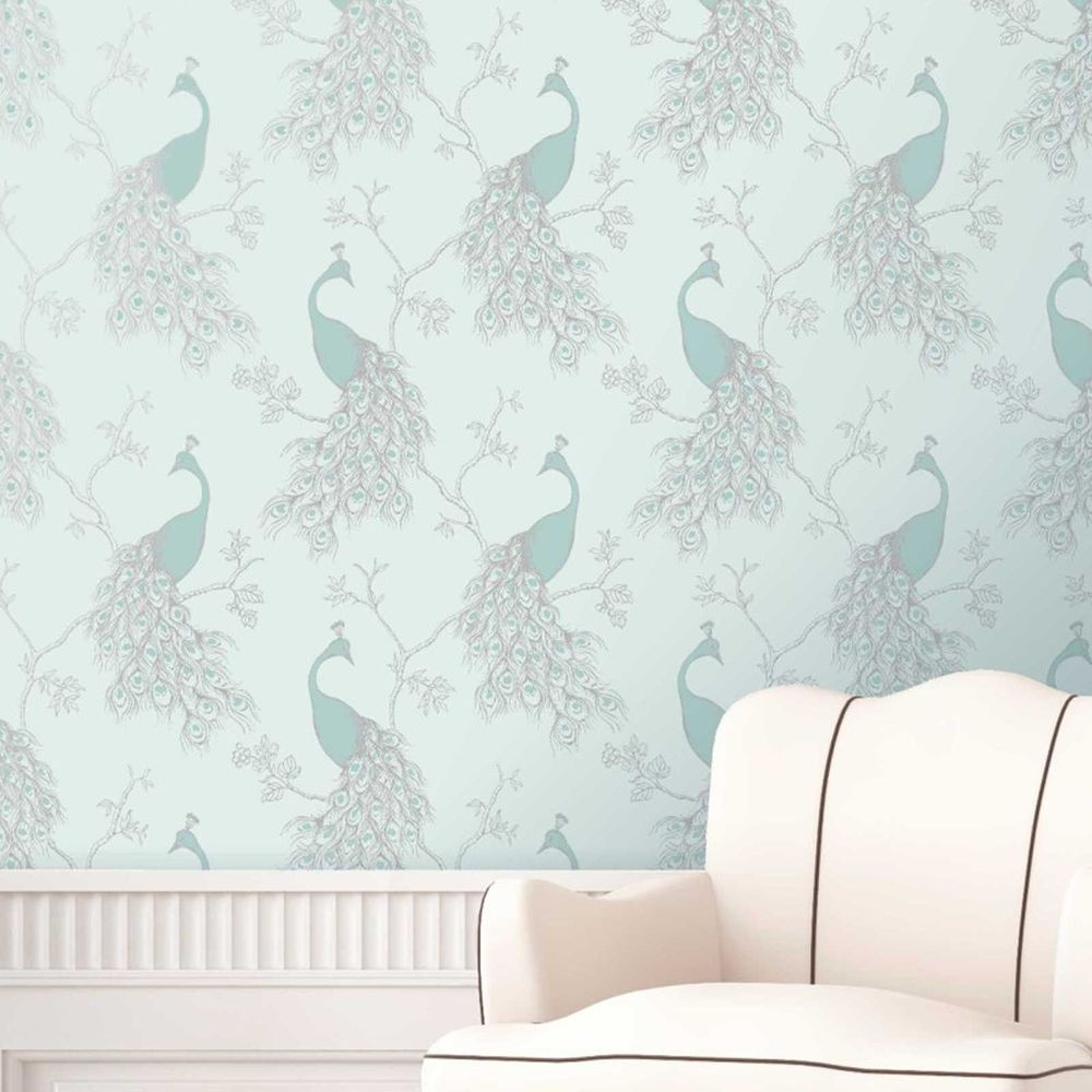 Silver Wallpaper Bedroom Details About Peacock Wallpaper Shabby Chic Empress Duck Egg