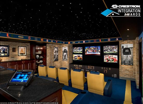 The ideal sports room... what I want my Man Cave to look like ...
