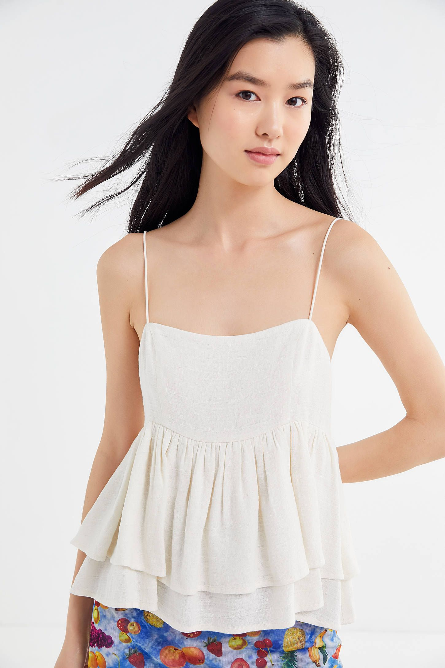 f00e0086975 UO Olivia Tiered Ruffle Babydoll Top in 2019