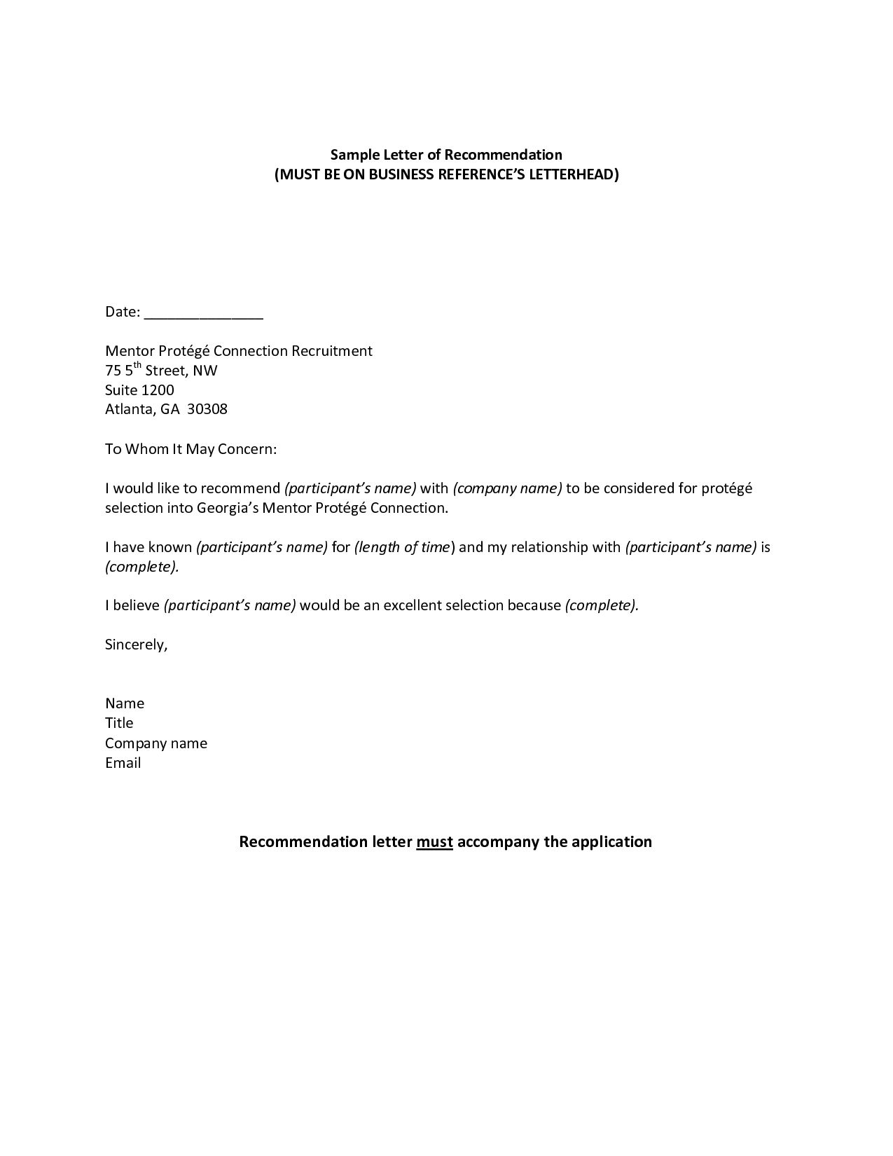 Professional Reference Sample Recommendation Letter Jos Throughout