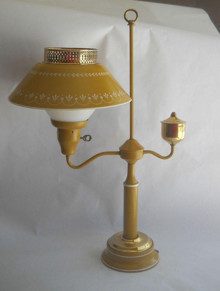Vintage tole toleware lamp ivory tan wheat design desk table lamp vintage mid century yellow mustard metal tole student desk lamp light keyboard keysfo Images