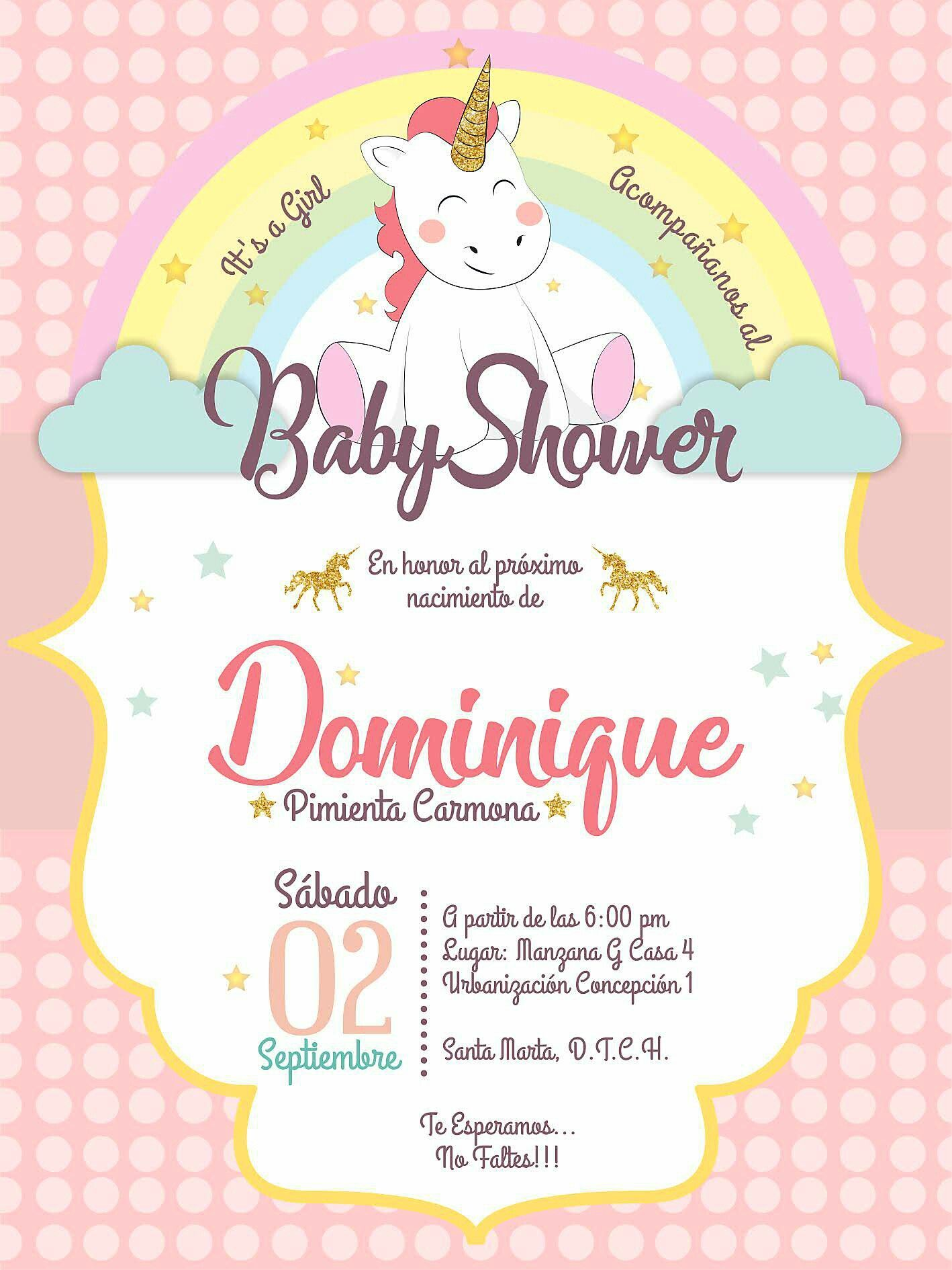 Invitación Baby Shower Unicornio Baby Shower Unicornio